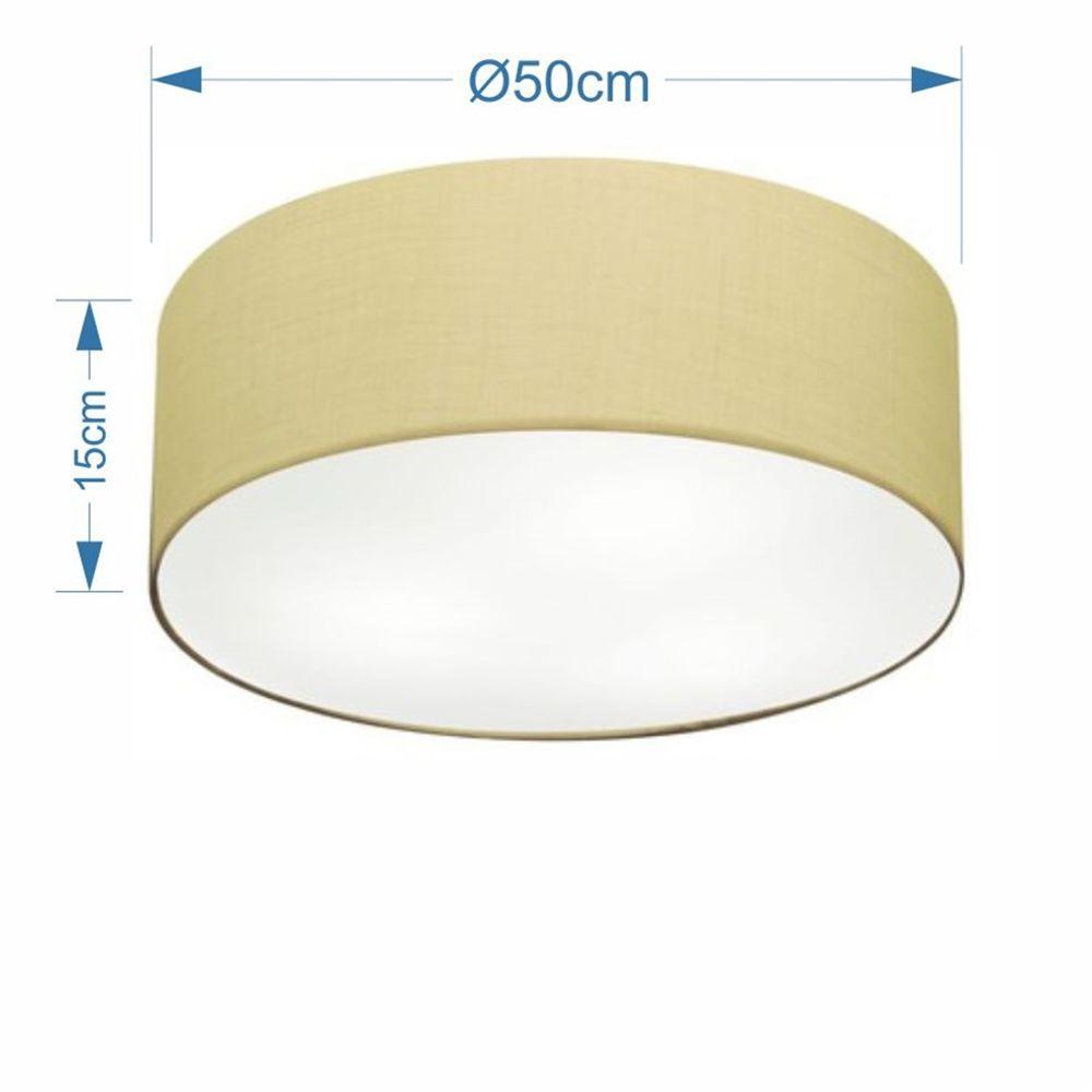 Plafon Cilíndrico Md-3014 Cúpula em Tecido 50x15cm Algodão Crú - Bivolt