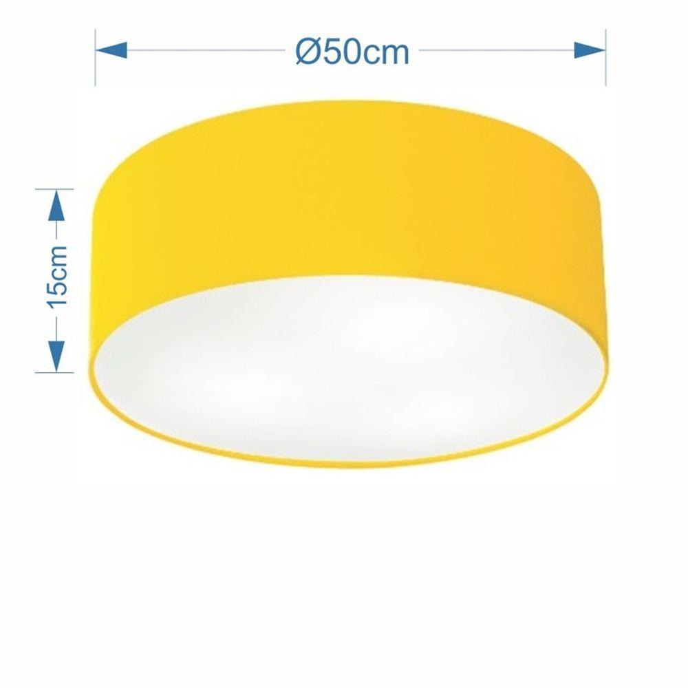 Plafon Cilíndrico Md-3014 Cúpula em Tecido 50x15cm Amarelo - Bivolt