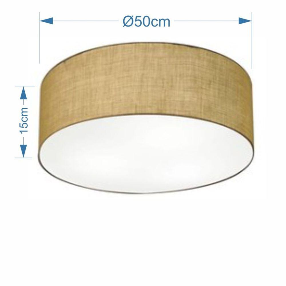 Plafon Cilíndrico Md-3014 Cúpula em Tecido 50x15cm Palha - Bivolt