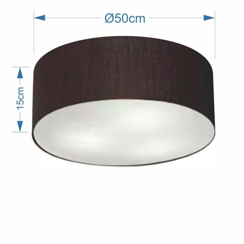 Plafon Cilíndrico Md-3014 Cúpula em Tecido 50x15cm Preto - Bivolt