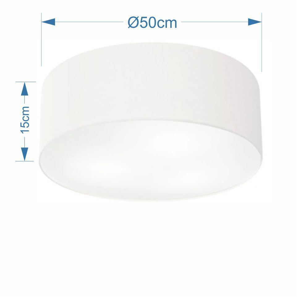 Plafon Cilíndrico Md-3014 Cúpula em Tecido 50x15cm Branco - Bivolt