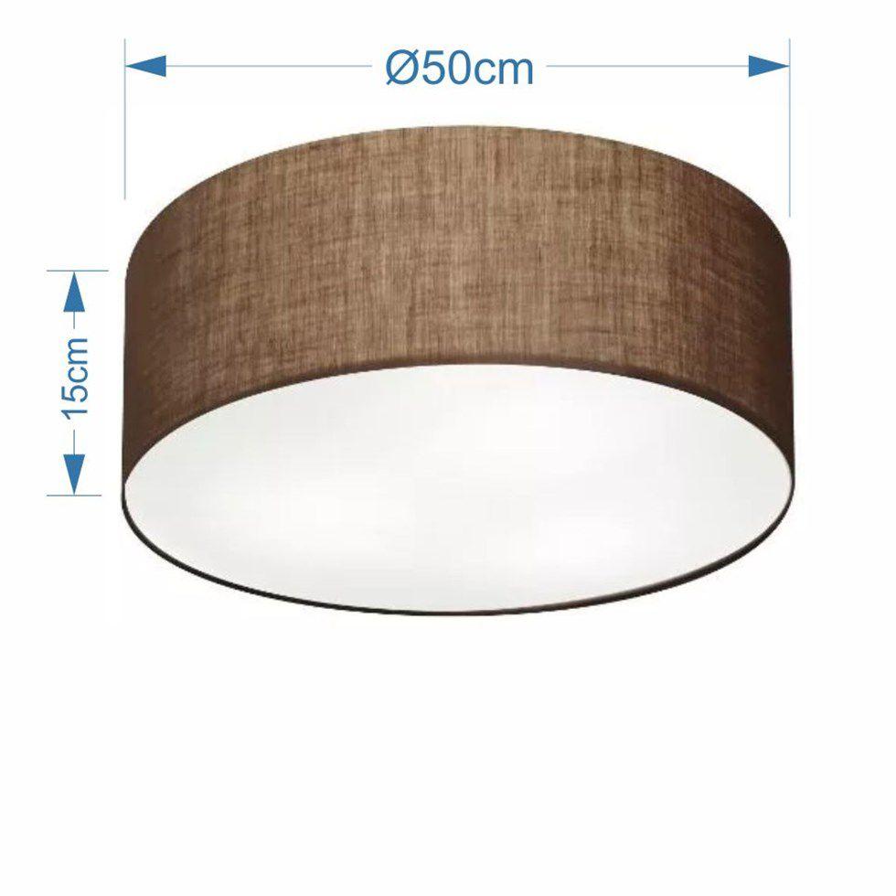Plafon Cilíndrico Md-3014 Cúpula em Tecido 50x15cm Café - Bivolt