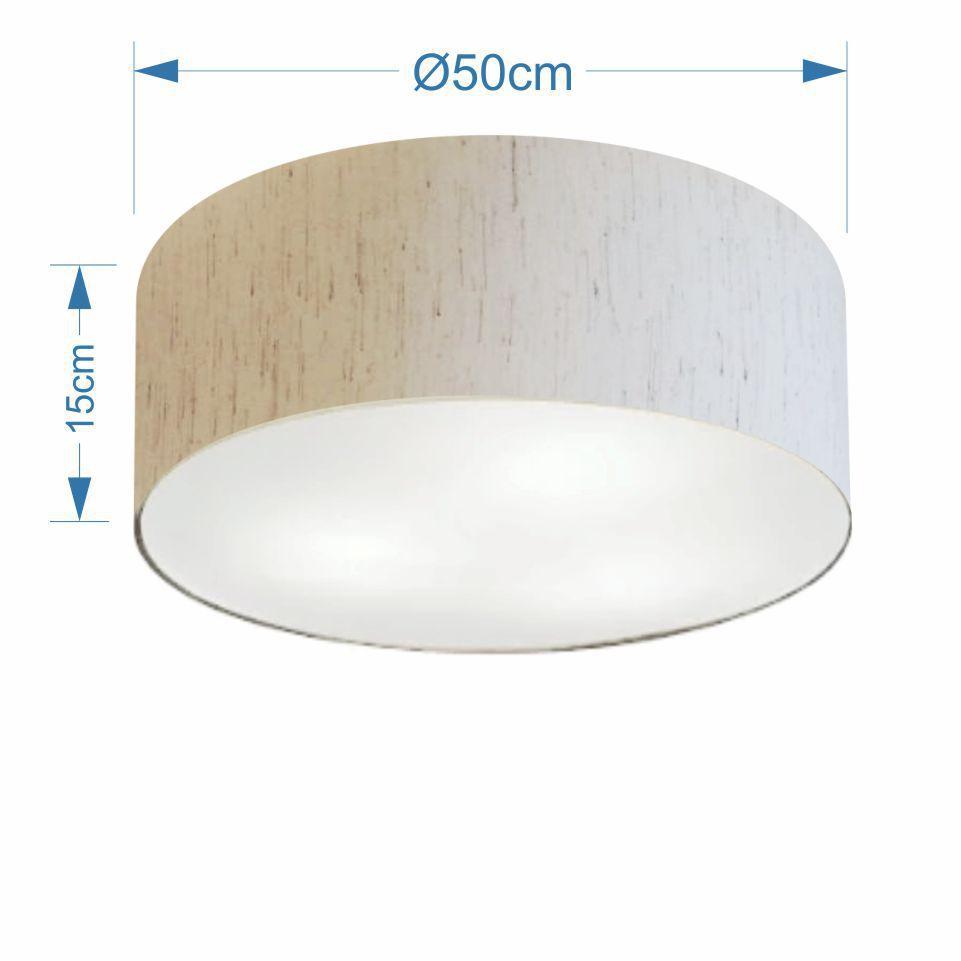 Plafon Cilíndrico Md-3014 Cúpula em Tecido 50x15cm Linho Bege - Bivolt