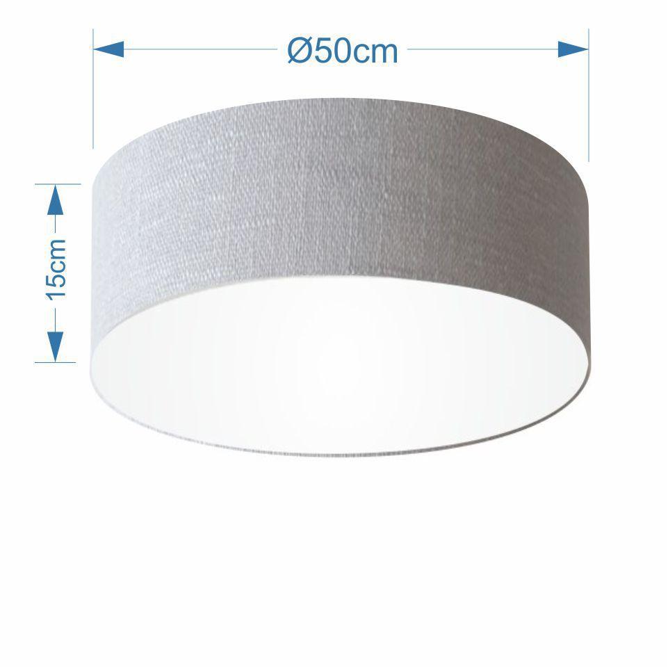 Plafon Cilíndrico Md-3014 Cúpula em Tecido 50x15cm Rustico Cinza - Bivolt