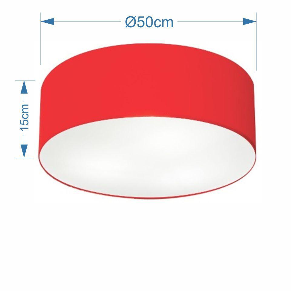 Plafon Cilíndrico Md-3014 Cúpula em Tecido 50x15cm Vermelho - Bivolt