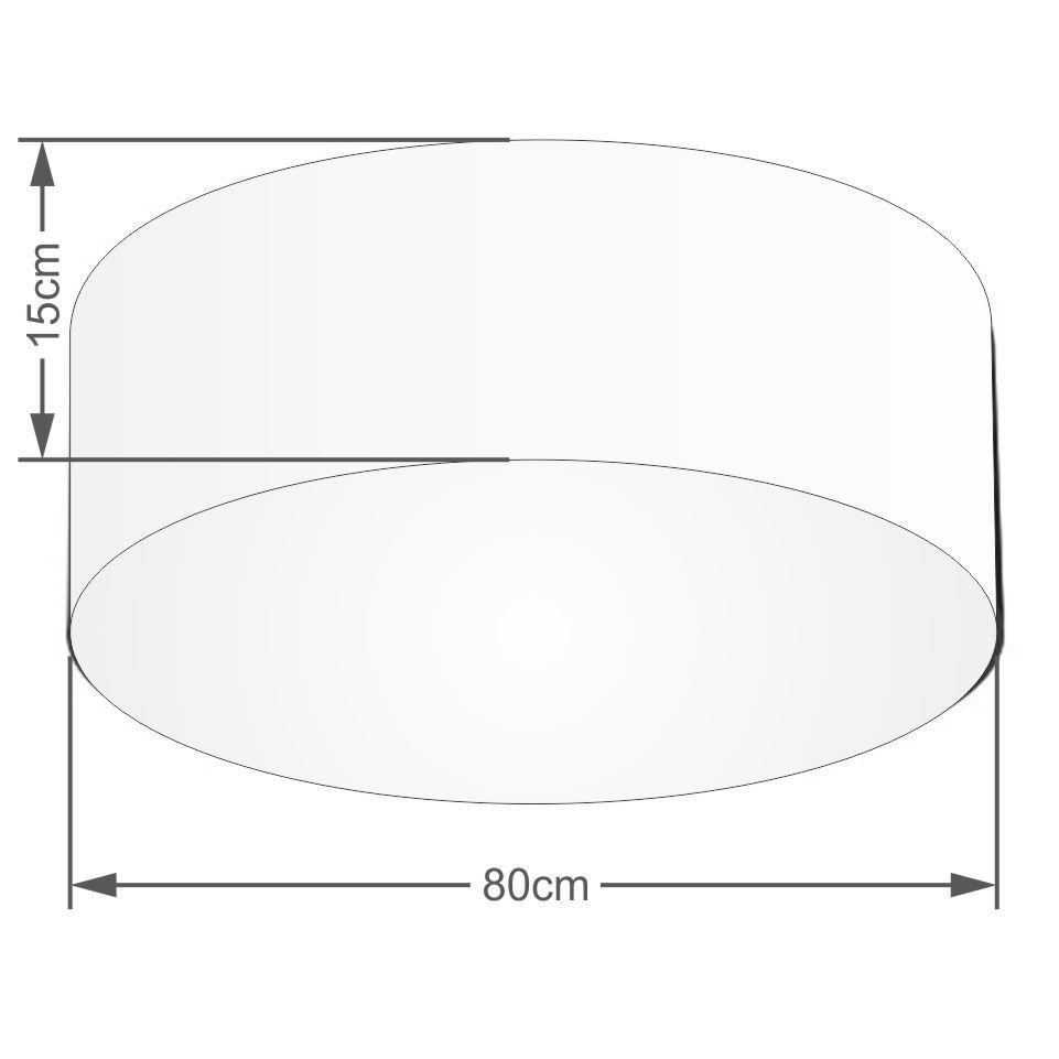 Plafon Cilíndrico Md-3019 Cúpula em Tecido 80x15cm Algodão Crú - Bivolt