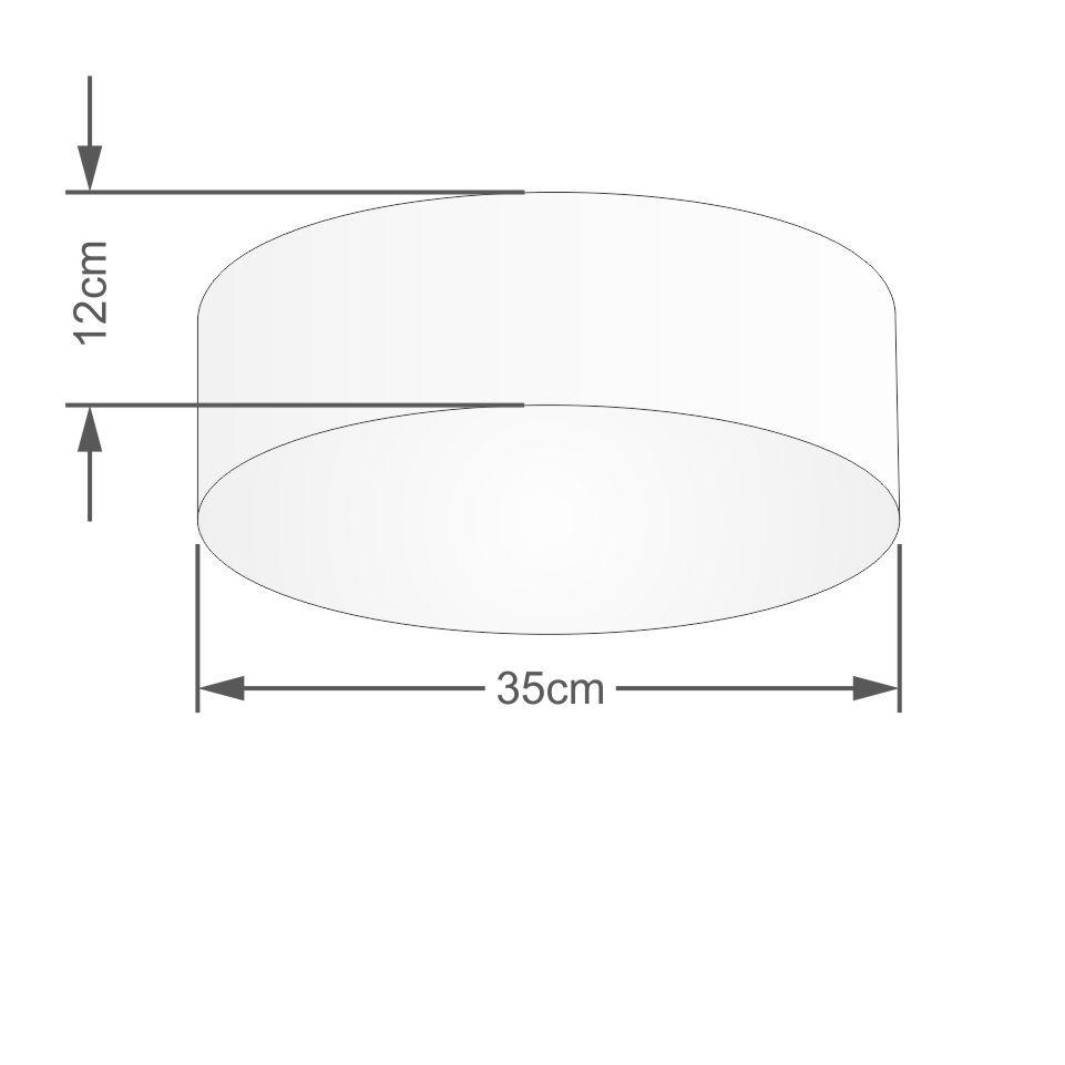 Plafon Cilíndrico Md-3046 Cúpula em Tecido 35x12cm Rosa Bebê - Bivolt