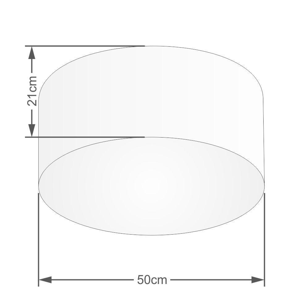 Plafon Cilíndrico Md-3048 Cúpula em Tecido 50x21cm Linho Bege - Bivolt