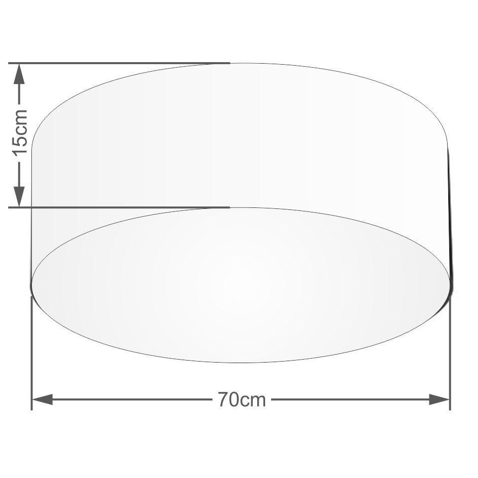 Plafon Cilíndrico Md-3049 Cúpula em Tecido 70x15cm Algodão Crú - Bivolt