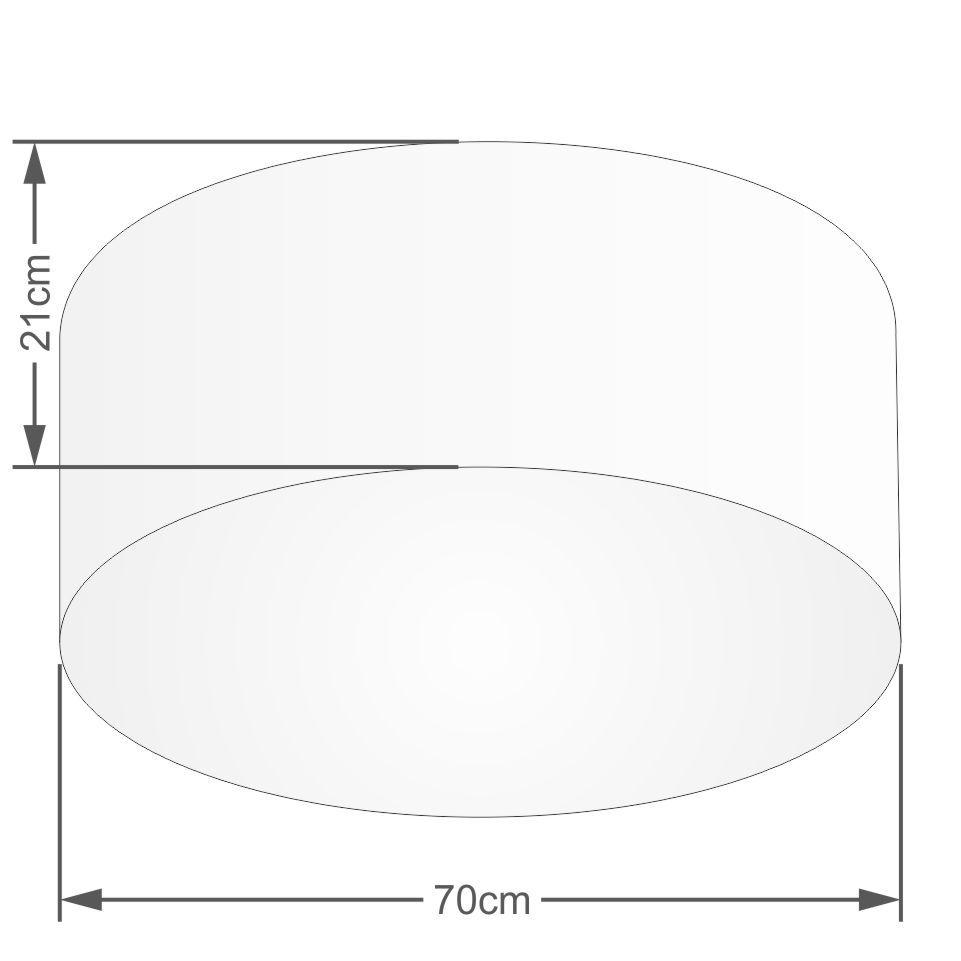 Plafon Cilíndrico Md-3054 Cúpula em Tecido 70x21cm Rustico Cinza - Bivolt