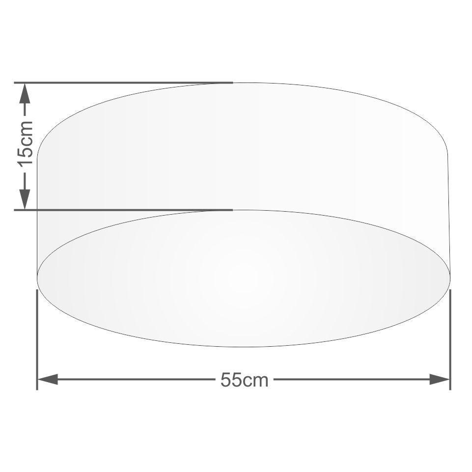 Plafon Cilíndrico Md-3057 Cúpula em Tecido 55x15cm Algodão Crú - Bivolt