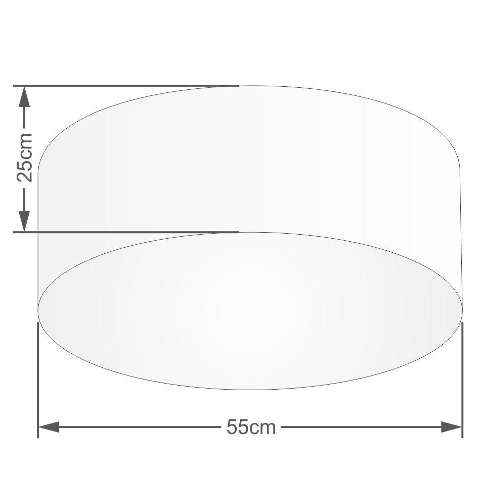 Plafon Cilíndrico Md-3058 Cúpula em Tecido 55x25cm Algodão Crú - Bivolt