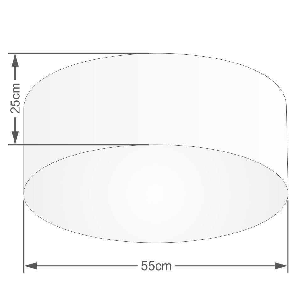 Plafon Cilíndrico Md-3058 Cúpula em Tecido 55x25cm Palha - Bivolt