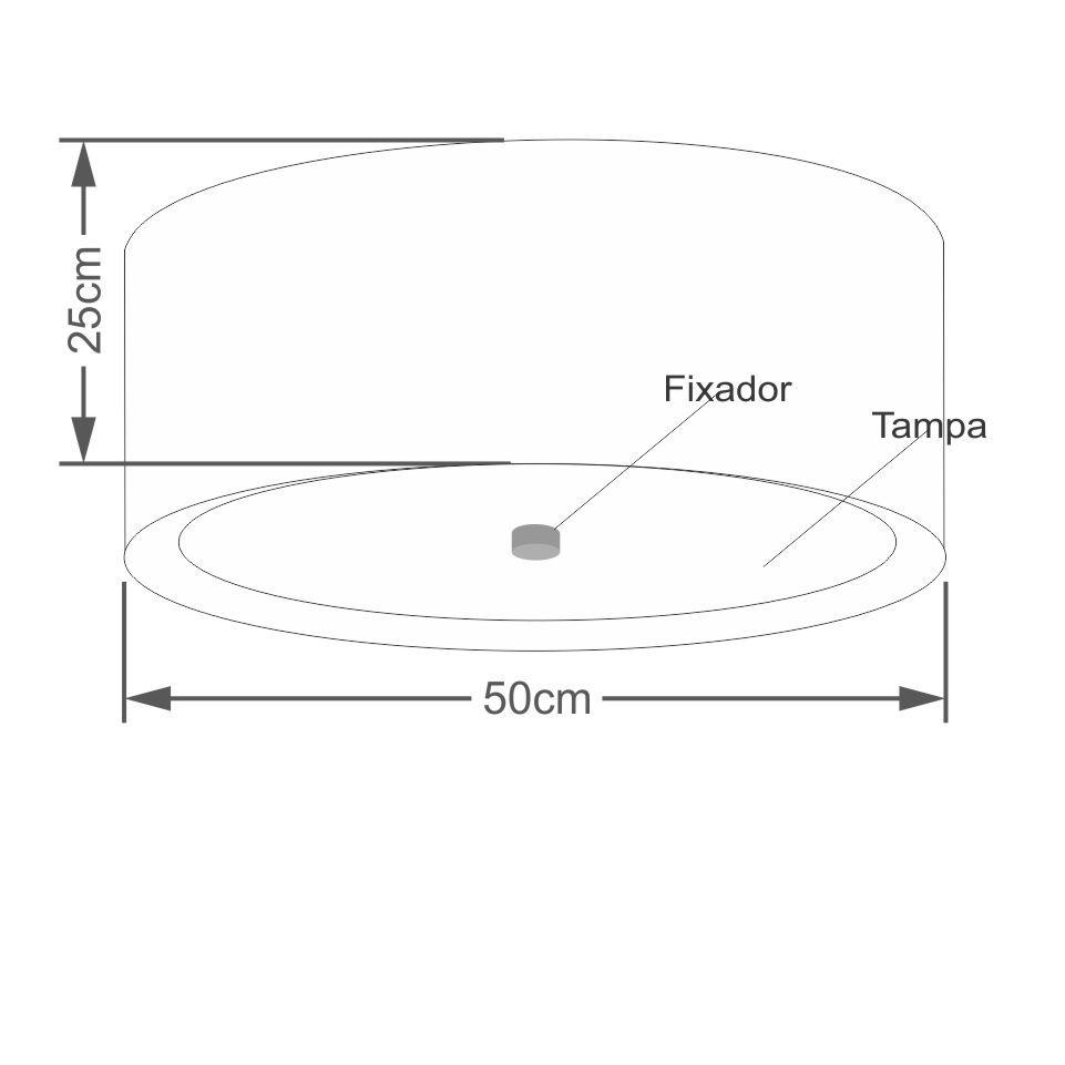 Plafon Cilíndrico Md-3161 Cúpula em Duplo Tecido 50x25cm Linho Bege / Branco - Bivolt