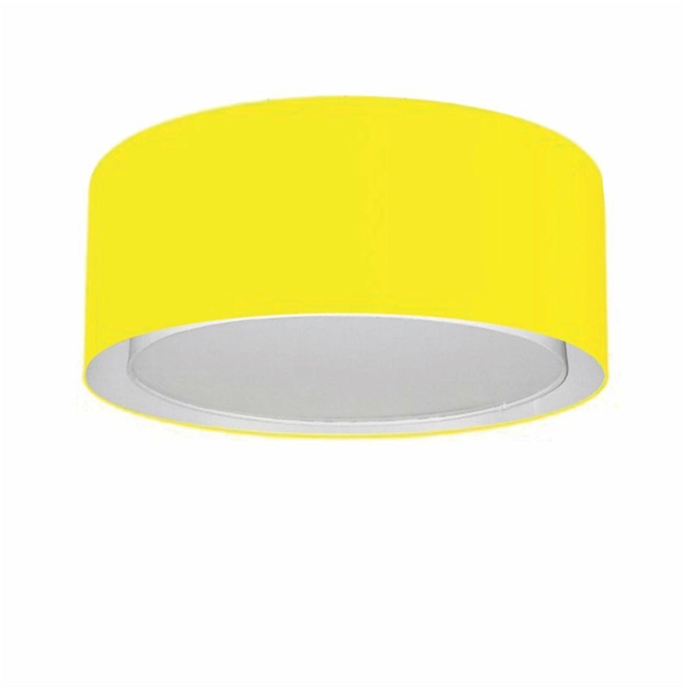 Plafon Duplo Cilíndrico Md-3036 Cúpula em Tecido 50x25cm Amarelo - Bivolt