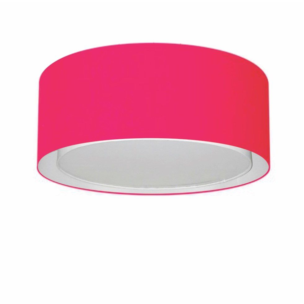 Plafon Duplo Cilíndrico Md-3036 Cúpula em Tecido 50x25cm Rosa Pink - Bivolt