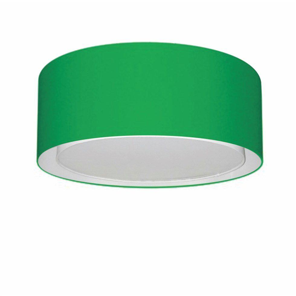 Plafon Duplo Cilíndrico Md-3036 Cúpula em Tecido 50x25cm Verde Folha - Bivolt