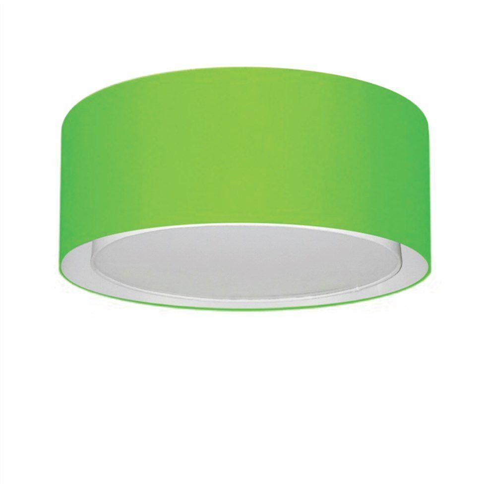 Plafon Duplo Cilíndrico Md-3036 Cúpula em Tecido 50x25cm Verde Limão - Bivolt