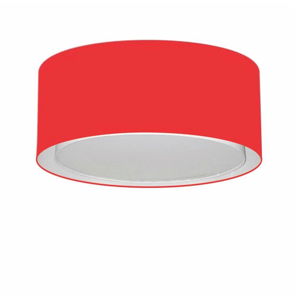 Plafon Duplo Cilíndrico Md-3036 Cúpula em Tecido 50x25cm Vermelho - Bivolt