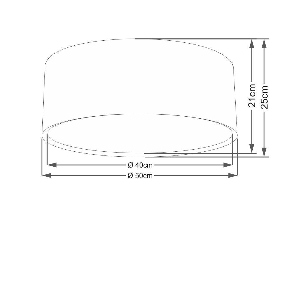 Plafon Duplo Cilíndrico Md-3036 Cúpula em Tecido 50x25cm Algodão Crú - Bivolt