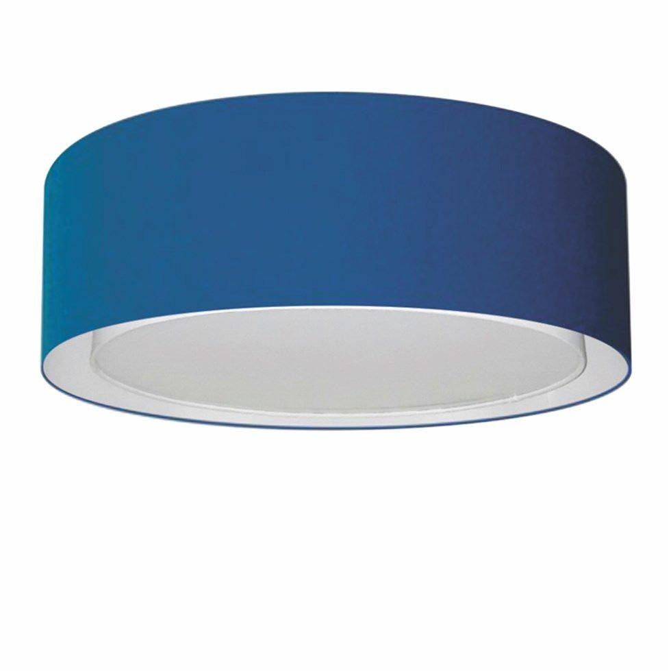 Plafon Duplo Cilíndrico Md-3037 Cúpula em Tecido 60x25cm Azul Marinho - Bivolt