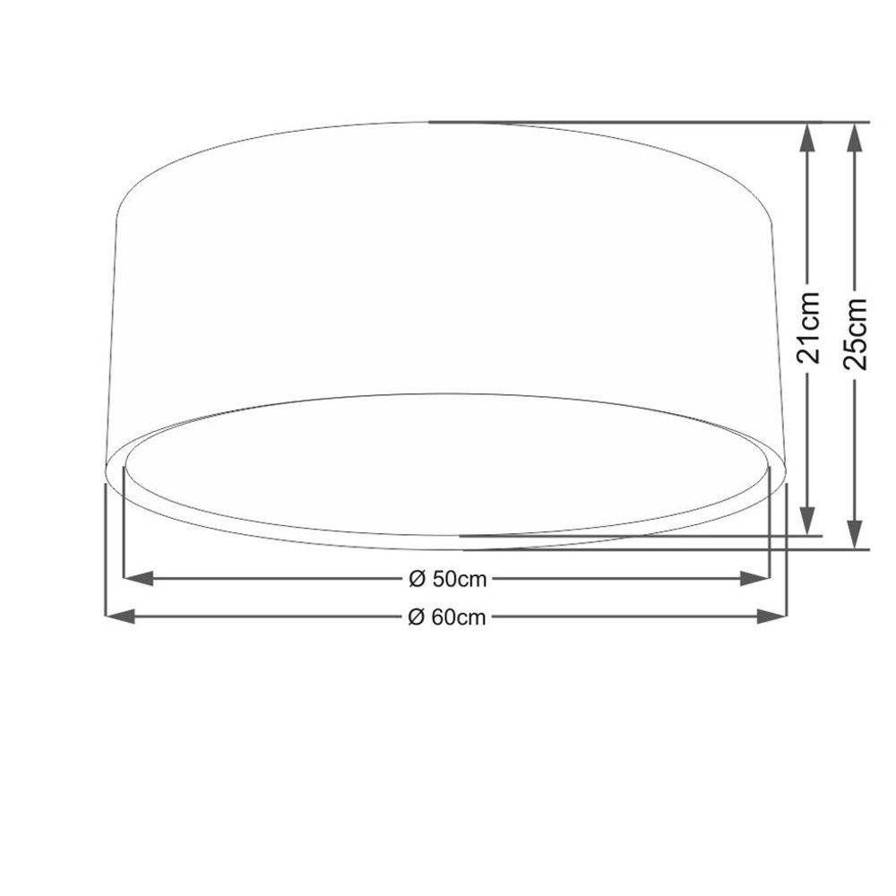 Plafon Duplo Cilíndrico Md-3037 Cúpula em Tecido 60x25cm Preto - Bivolt
