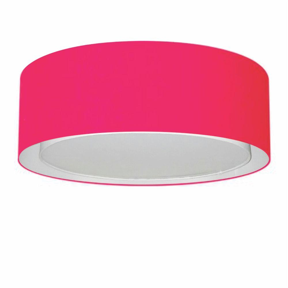 Plafon Duplo Cilíndrico Md-3037 Cúpula em Tecido 60x25cm Rosa Pink - Bivolt