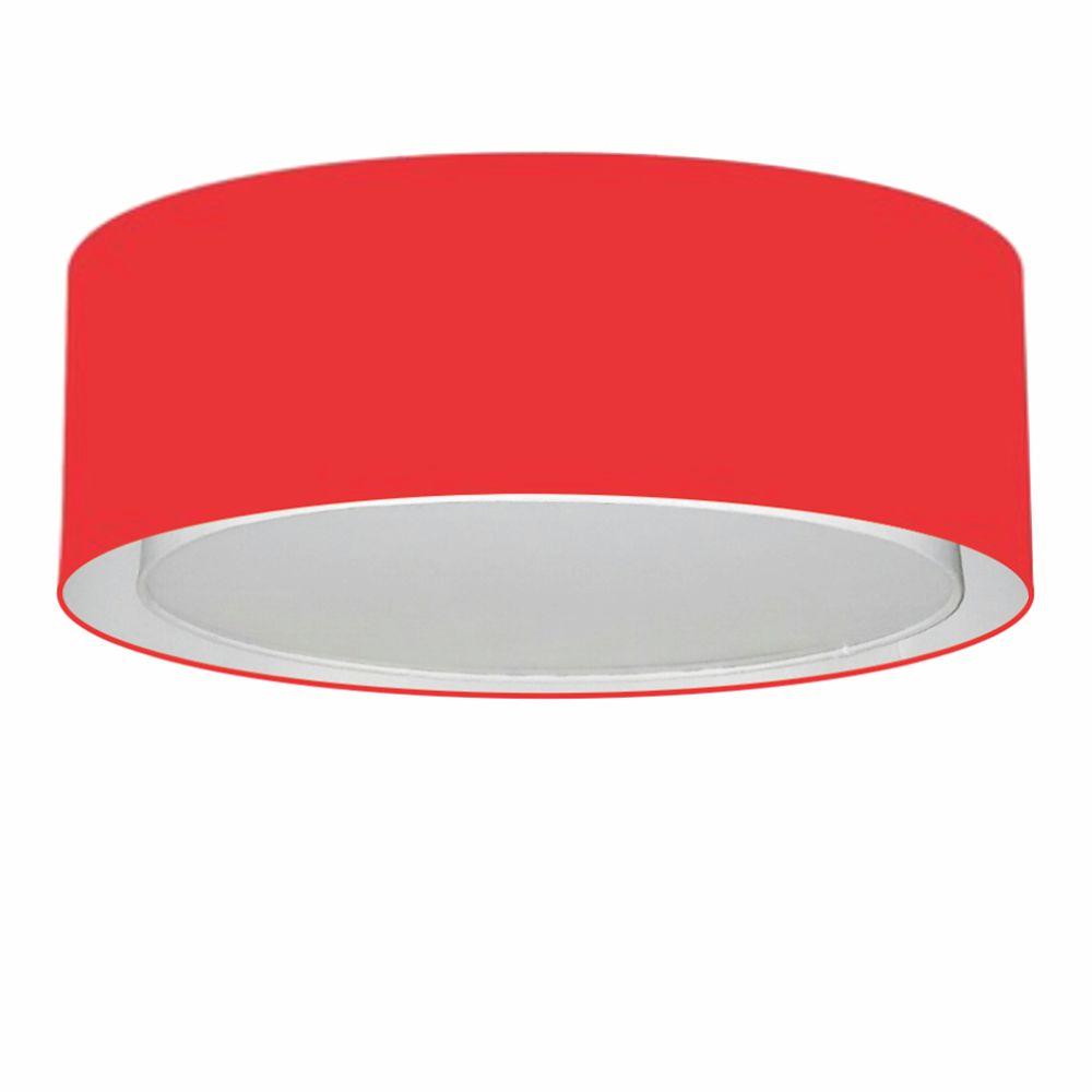 Plafon Duplo Cilíndrico Md-3037 Cúpula em Tecido 60x25cm Vermelho - Bivolt