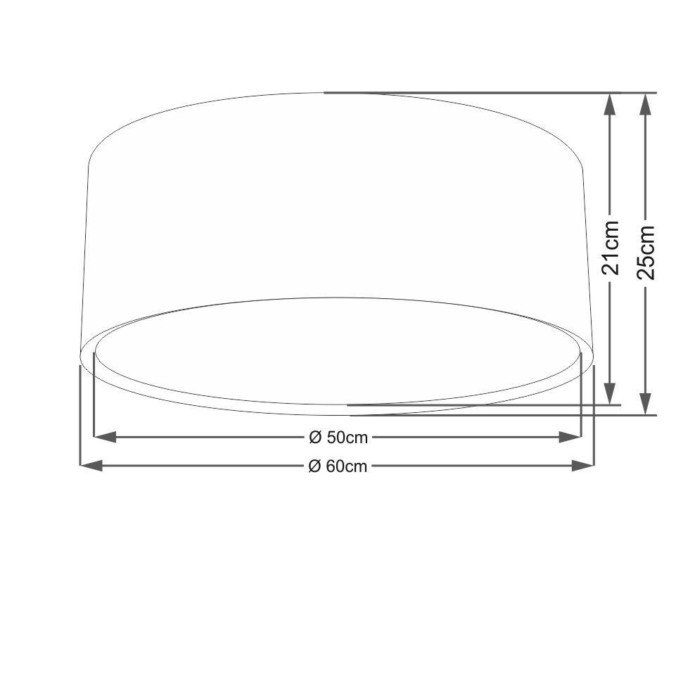 Plafon Duplo Cilíndrico Md-3037 Cúpula em Tecido 60x25cm Algodão Crú - Bivolt