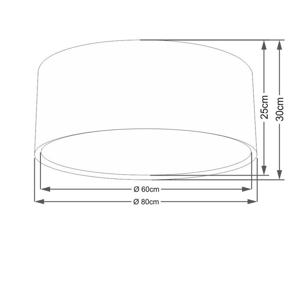 Plafon Duplo Cilíndrico Md-3038 Cúpula em Tecido 80x30cm Amarelo - Bivolt