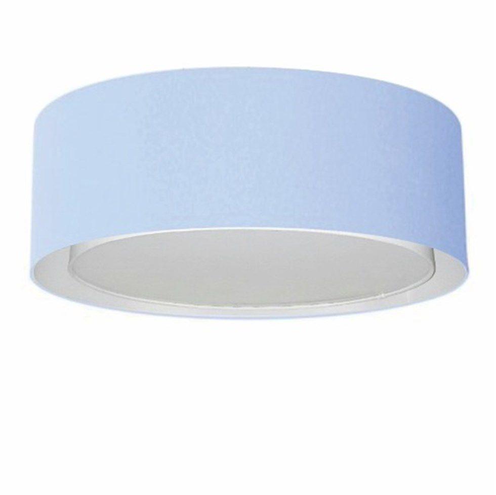 Plafon Duplo Cilíndrico Md-3038 Cúpula em Tecido 80x30cm Azul Bebê - Bivolt