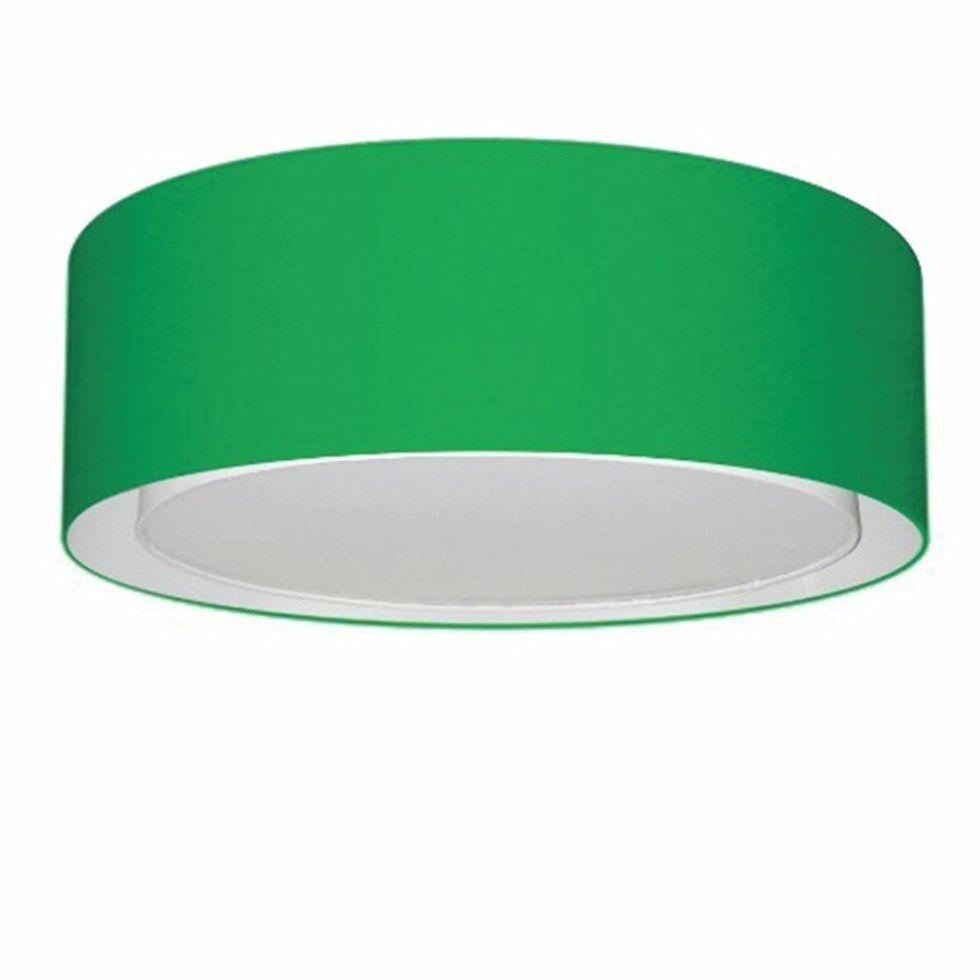 Plafon Duplo Cilíndrico Md-3038 Cúpula em Tecido 80x30cm Verde Folha - Bivolt