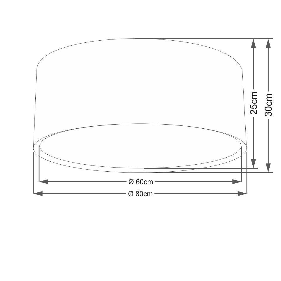 Plafon Duplo Cilíndrico Md-3038 Cúpula em Tecido 80x30cm Algodão Crú - Bivolt