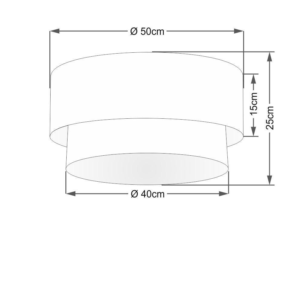 Plafon Duplo Cilíndrico Vivare Md-3017 Cúpula Tecido 50x40cm - Bivolt
