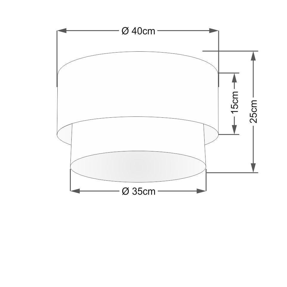 Plafon Duplo Cilíndrico Vivare Md-3045 Cúpula Tecido 40x35cm - Bivolt