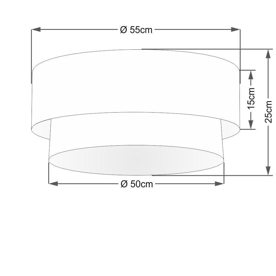 Plafon Duplo Cilíndrico Vivare Md-3063 Cúpula Tecido 55x50cm - Bivolt