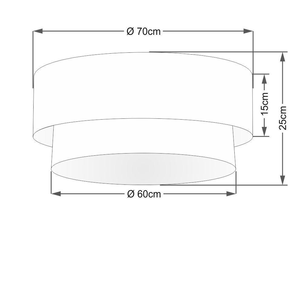 Plafon Duplo Cilíndrico Vivare Md-3064 Cúpula Tecido 70x60cm - Bivolt