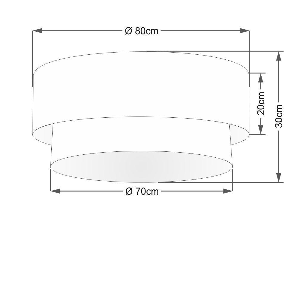 Plafon Duplo Cilíndrico Vivare Md-3065 Cúpula Tecido 80x70cm - Bivolt