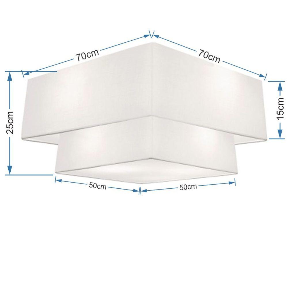 Plafon Duplo Quadrado Md-3018 Cúpula em Tecido 25/70x50cm Branco - Bivolt