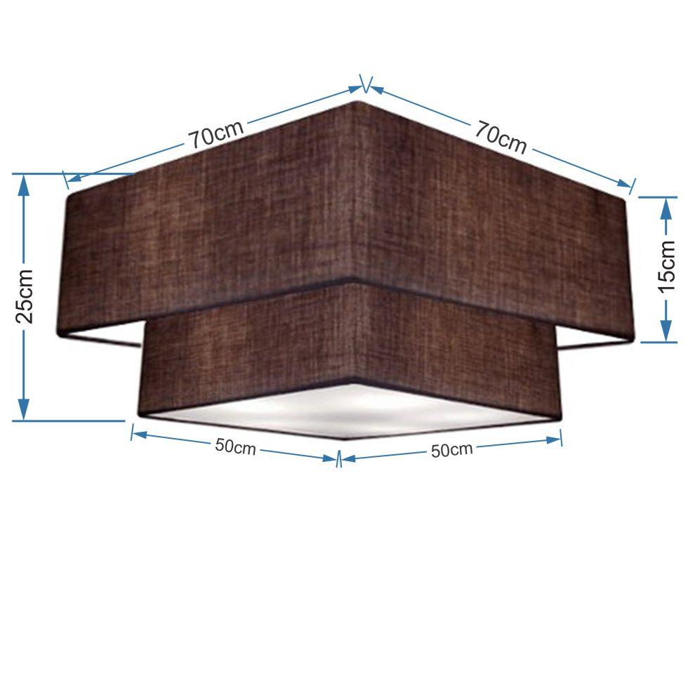 Plafon Duplo Quadrado Md-3018 Cúpula em Tecido 25/70x50cm Café - Bivolt
