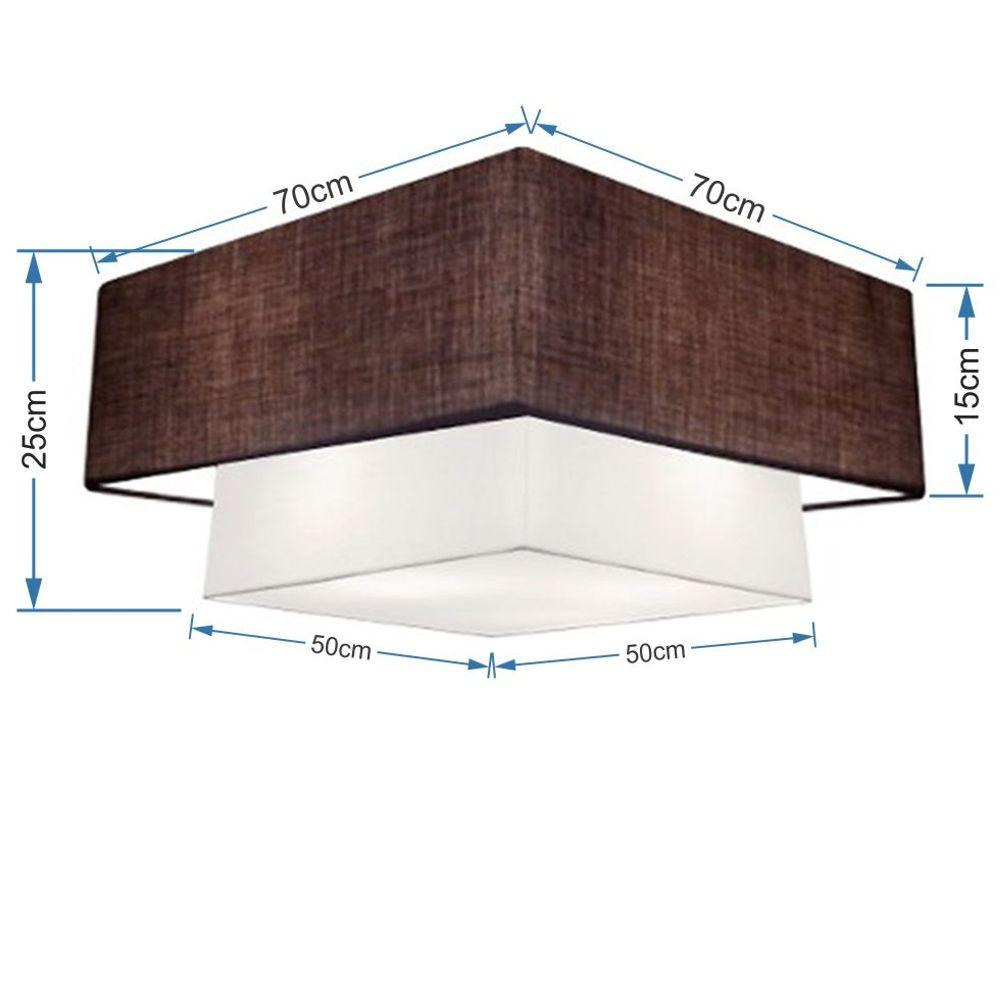 Plafon Duplo Quadrado Md-3018 Cúpula em Tecido 25/70x50cm Café / Branco - Bivolt