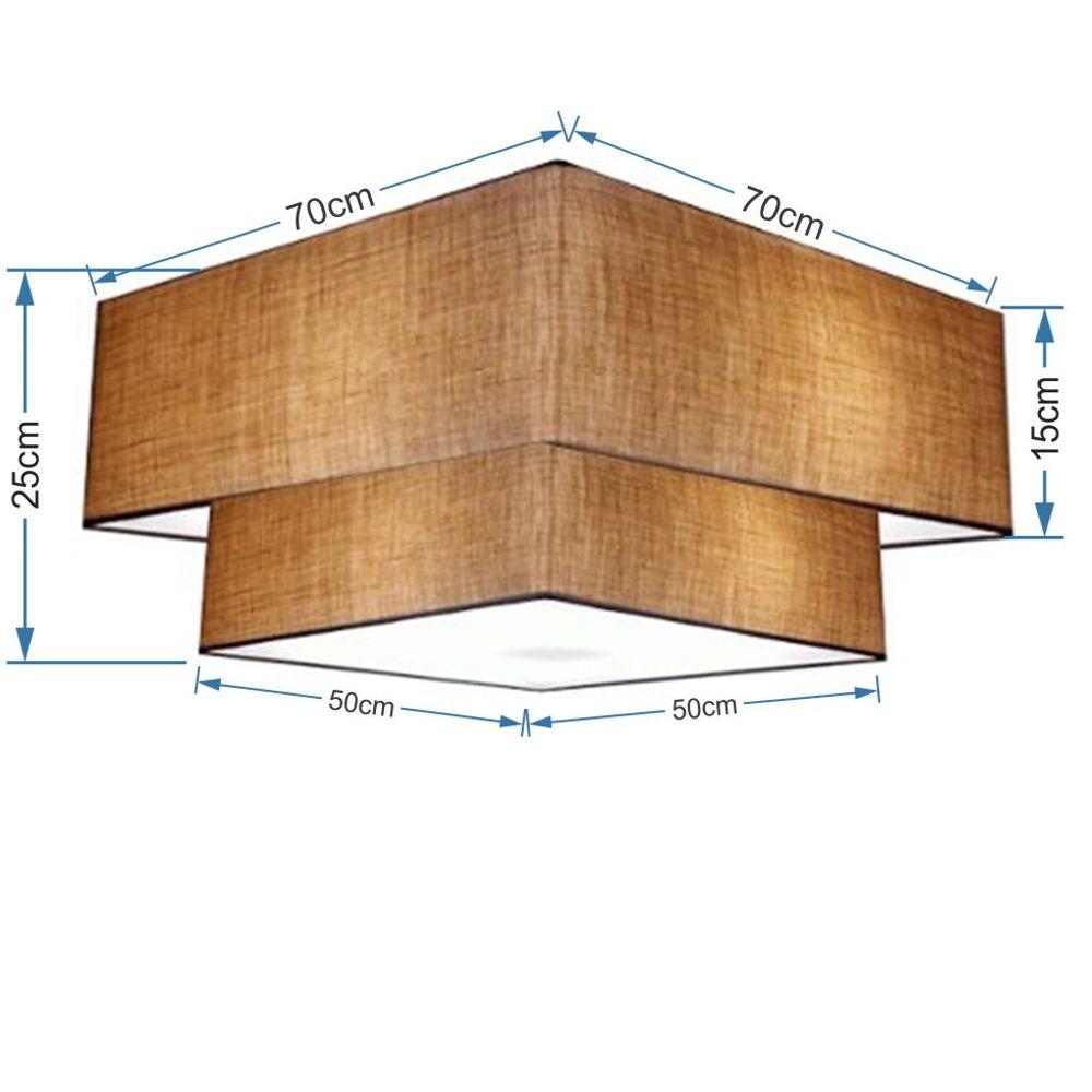 Plafon Duplo Quadrado Md-3018 Cúpula em Tecido 25/70x50cm Palha - Bivolt