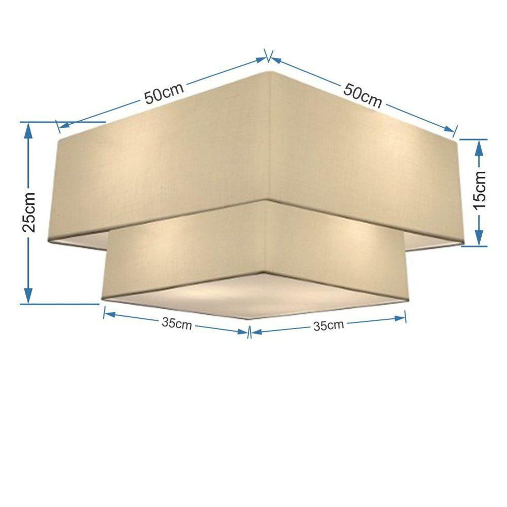 Plafon Duplo Quadrado Md-3022 Cúpula em Tecido 25/50x35cm Algodão Crú - Bivolt