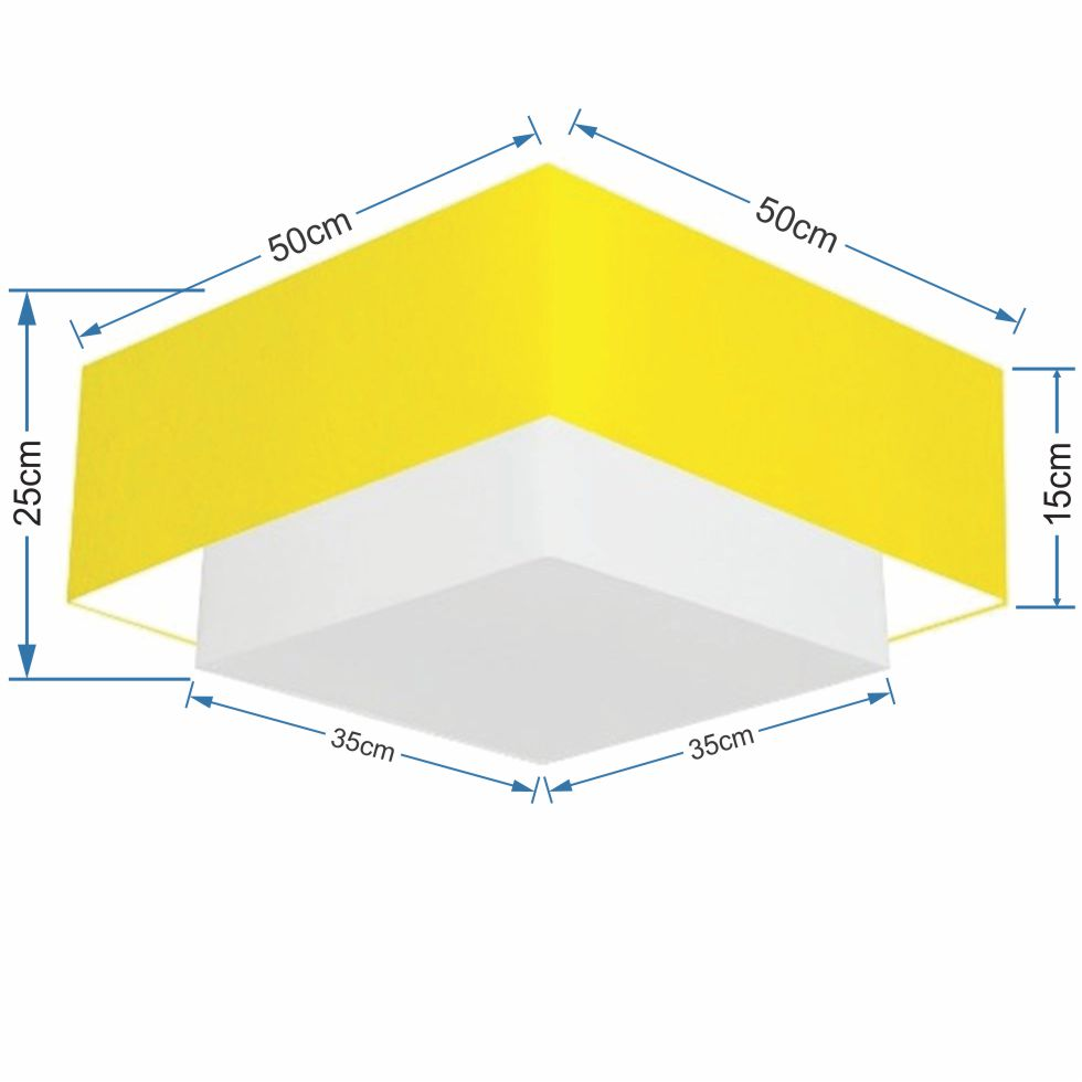 Plafon Duplo Quadrado Md-3022 Cúpula em Tecido 25/50x35cm Amarelo / Branco - Bivolt