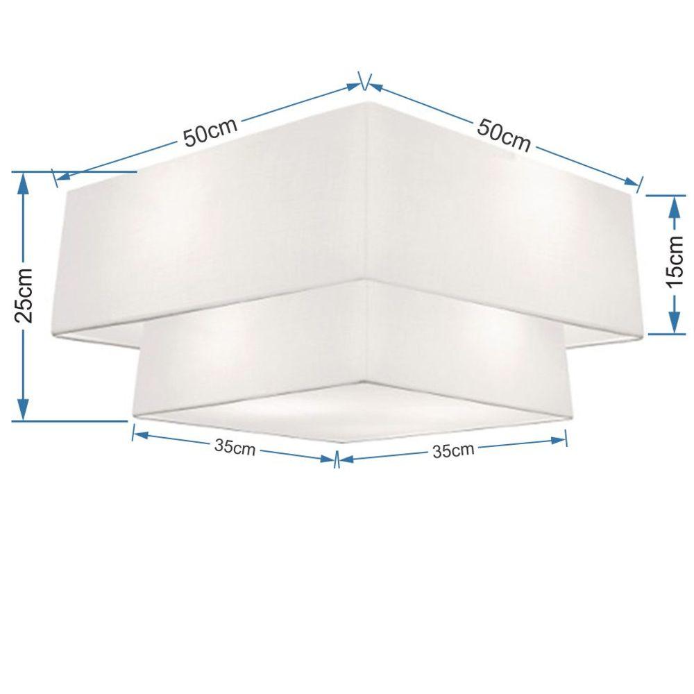 Plafon Duplo Quadrado Md-3022 Cúpula em Tecido 25/50x35cm Branco - Bivolt
