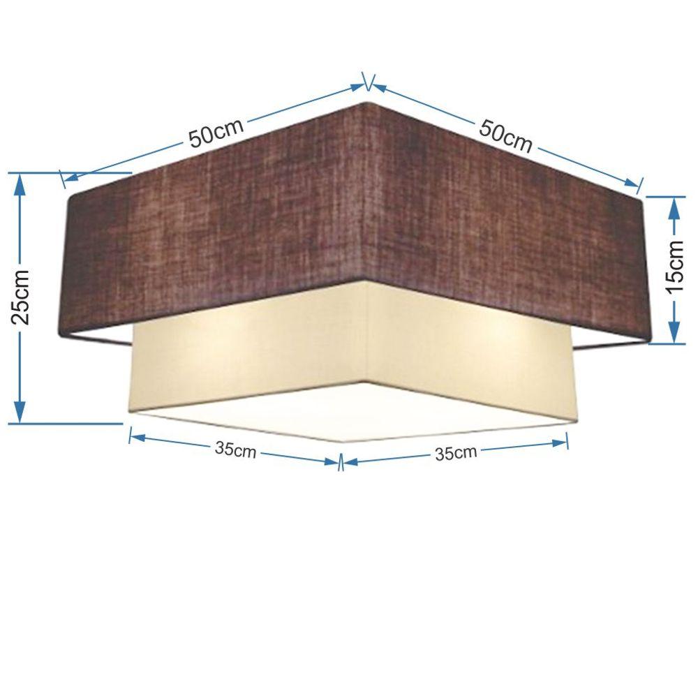 Plafon Duplo Quadrado Md-3022 Cúpula em Tecido 25/50x35cm Café / Bege - Bivolt