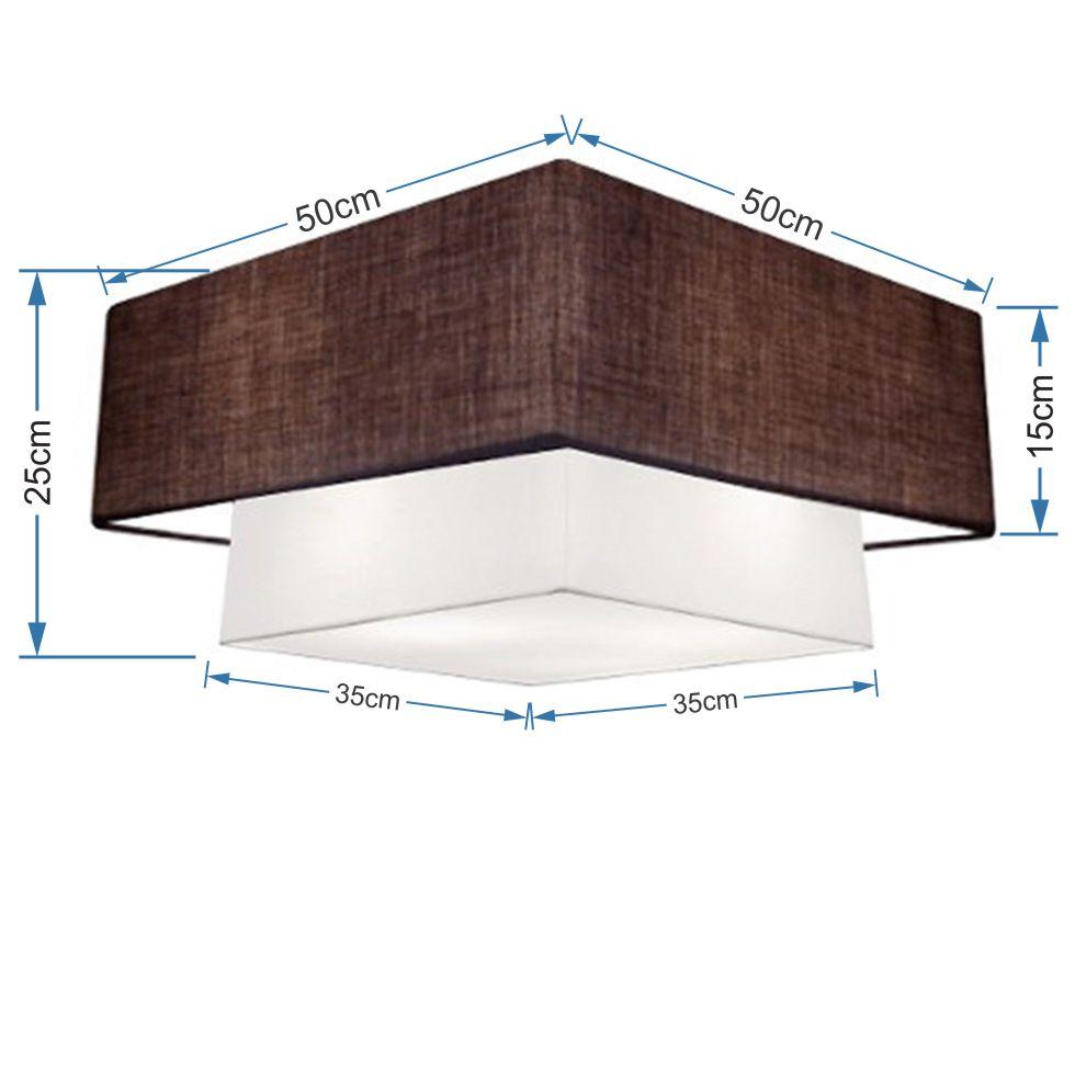 Plafon Duplo Quadrado Md-3022 Cúpula em Tecido 25/50x35cm Café / Branco - Bivolt