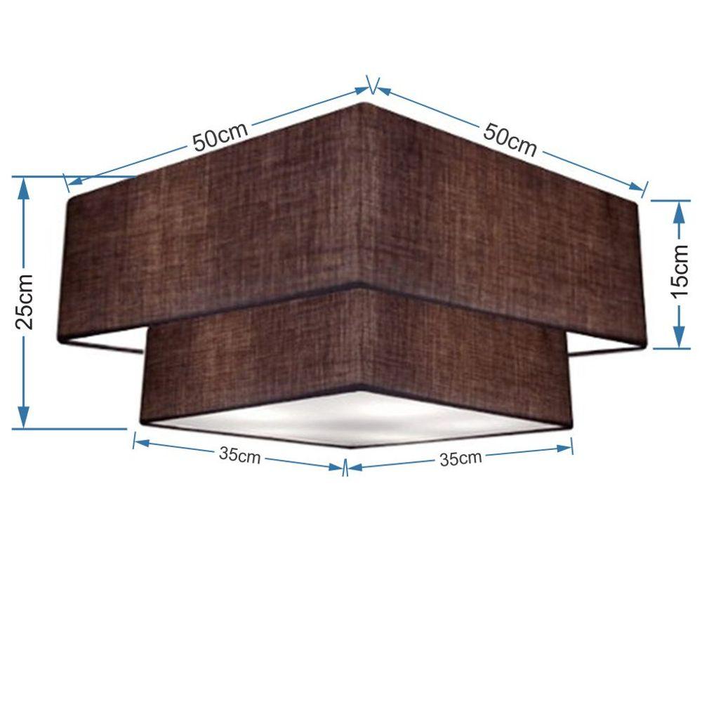 Plafon Duplo Quadrado Md-3022 Cúpula em Tecido 25/50x35cm Café / Café - Bivolt
