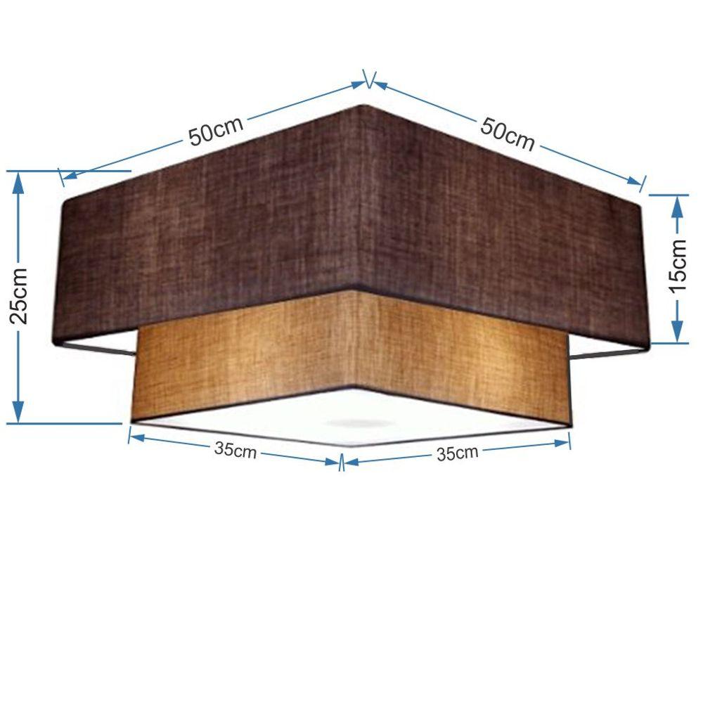 Plafon Duplo Quadrado Md-3022 Cúpula em Tecido 25/50x35cm Café / Palha - Bivolt