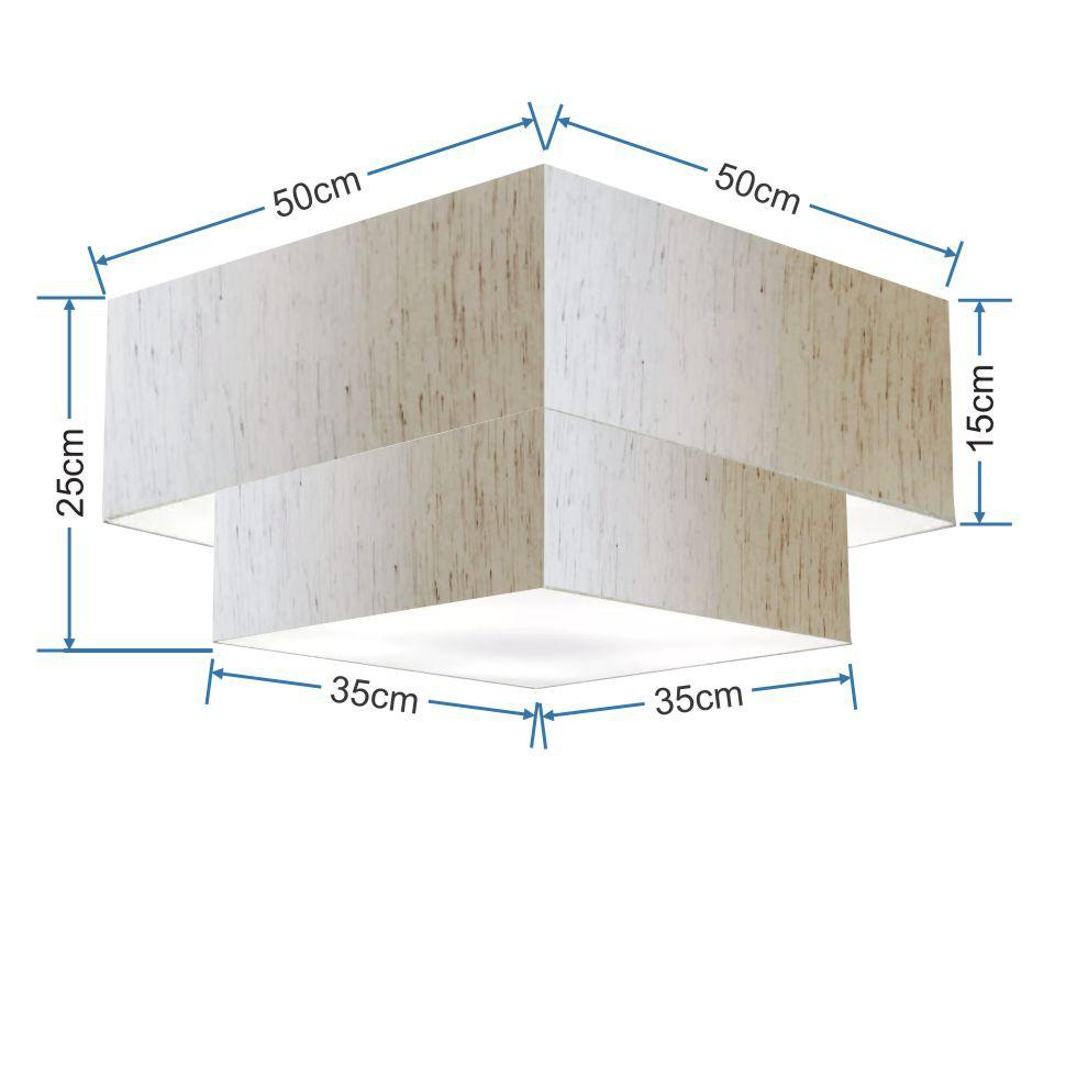 Plafon Duplo Quadrado Md-3022 Cúpula em Tecido 25/50x35cm Linho Bege - Bivolt